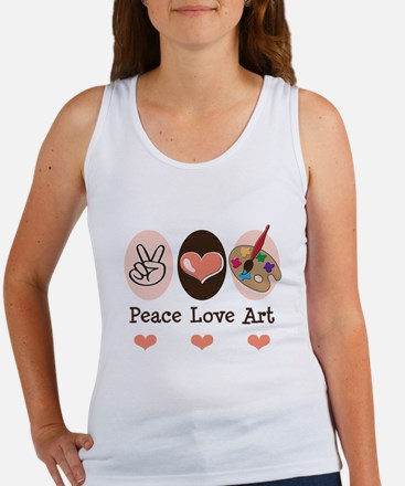 Peace Love Art Teacher Artist Women's Tank Top