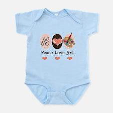 Peace Love Art Teacher Artist Infant Bodysuit