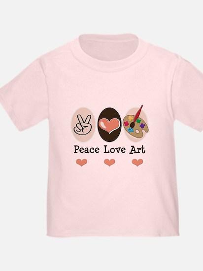 Peace Love Art Teacher Artist Toddler Tee