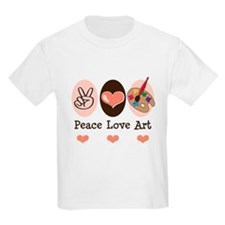 Peace Love Art Teacher Artist T-Shirt