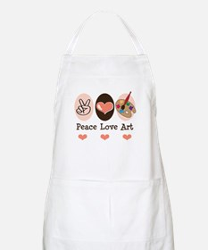 Peace Love Art Teacher Artist BBQ Apron