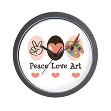 Peace Love Art Teacher Artist Wall Clock
