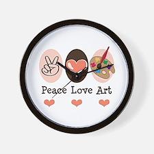 Peace Love Art Teacher Artist Wall Clock