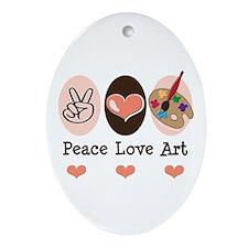 Peace Love Art Teacher Artist Oval Ornament
