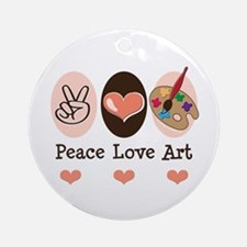 Peace Love Art Teacher Artist Ornament (Round)