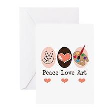 Peace Love Art Teacher Artist Greeting Cards 20 Pk