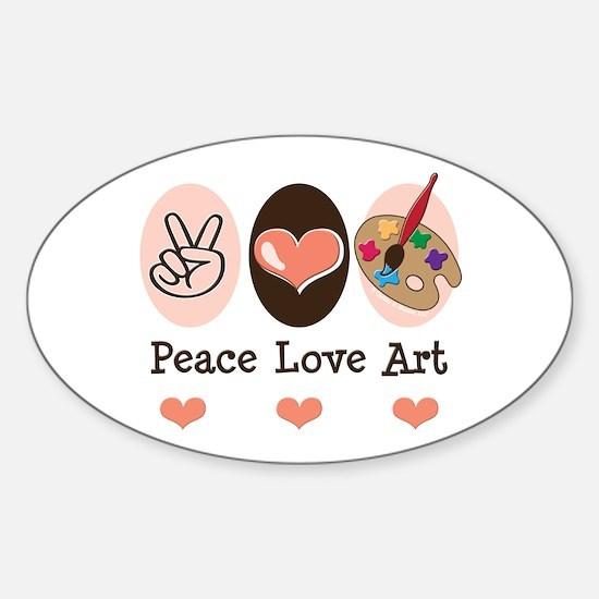 Peace Love Art Teacher Artist Oval Decal