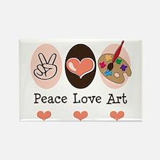 Peace Love Art Teacher Artist Rectangle Magnet