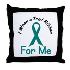 Teal Ribbon For ME 4 Throw Pillow