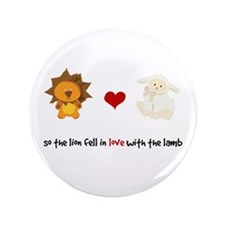 """Lion and Lamb - Fell in love 3.5"""" Button"""