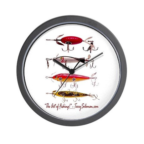Fish fishing lure wall clock by fish4fish for Fish wall clock