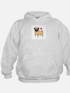 Fawn Pug Love Hoodie