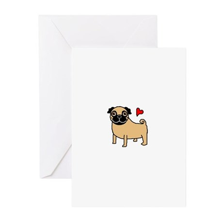 Fawn Pug Love Greeting Cards (Pk of 10)