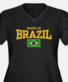 Made in Brazil Women's Plus Size V-Neck Dark T-Shi