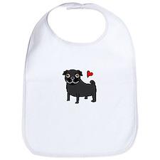 Black Pug Love Bib