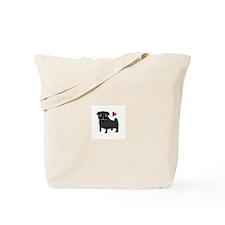 Black Pug Love Tote Bag