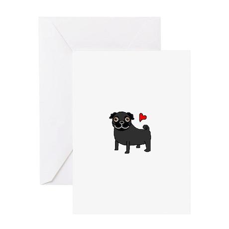 Black Pug Love Greeting Card