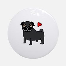 Black Pug Love Ornament (Round)