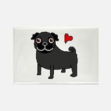 Black Pug Love Rectangle Magnet (10 pack)