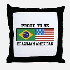 Proud Brazilian American Throw Pillow