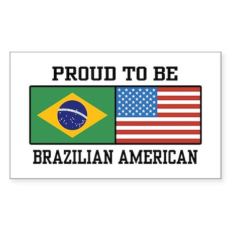 Proud Brazilian American Rectangle Sticker