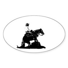 Reining Horse Oval Decal