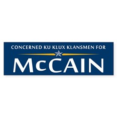 Concerned Klansment For McCain Bumper Bumper Sticker