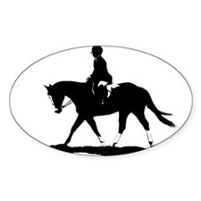 Hunt Seat Quarter Horse Oval Decal