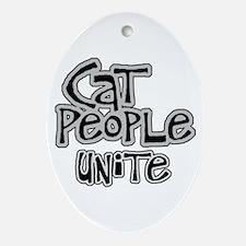 Cat people unite Oval Ornament