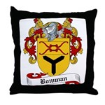 Bowman Family Crest Throw Pillow
