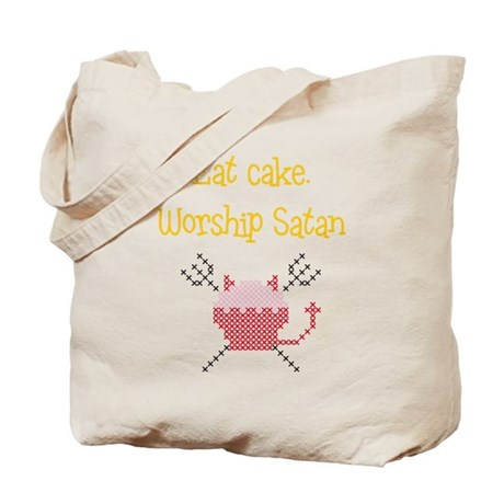 Eat cake. Worship Satan - tote bag