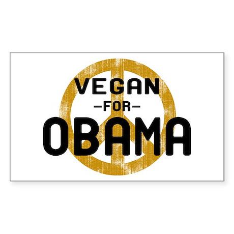 Vegan For Obama Rectangle Sticker
