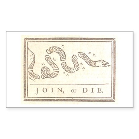 Join or Die Rectangle Sticker