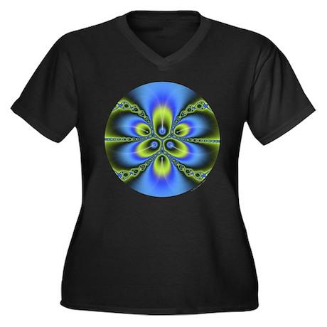 Fractal Women's Plus Size V-Neck Dark T-Shirt