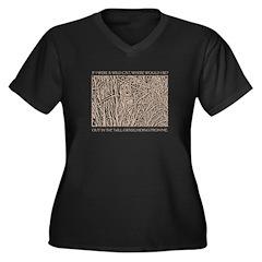 Brown Cat Women's Plus Size V-Neck Dark T-Shirt