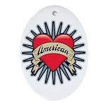 American Tattoo Heart Oval Ornament