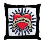 American Tattoo Heart Throw Pillow