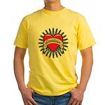 American Tattoo Heart Yellow T-Shirt