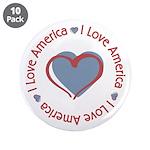 "I Love Heart America 3.5"" Button (10 pack)"