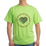I Love Heart America Green T-Shirt