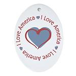 I Love Heart America Oval Ornament