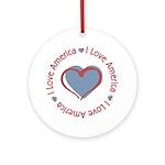 I Love Heart America Ornament (Round)