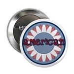 """American Flower Red White Blue 2.25"""" Button (10 pa"""