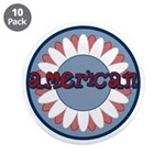 """American Flower Red White Blue 3.5"""" Button (10 pac"""