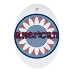 American Flower Red White Blue Oval Ornament