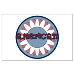 American Flower Red White Blue Large Poster