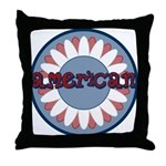 American Flower Red White Blue Throw Pillow