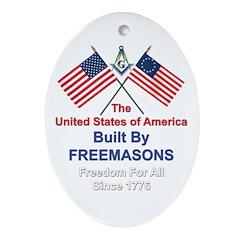 Masonic 4th of July Oval Ornament