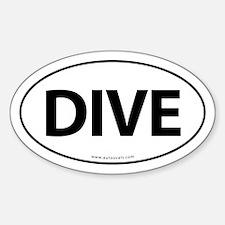 Dive Traditional Auto Sticker -White (Oval)
