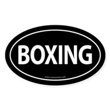 Boxing Traditional Auto Sticker -Black (Oval)